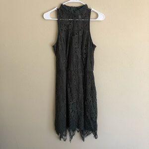 Dark Green Lace Mini Dress